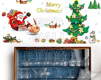 PEEL and STICK Removable Vinyl Wall Sticker Mural Decal Art - Christmas Tree and Santa Claus II