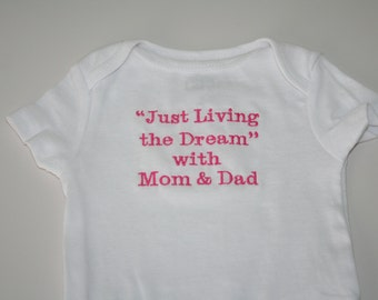 Personalized Baby One Piece Bodysuit Designed with Name, Message, or Image of Your Choice