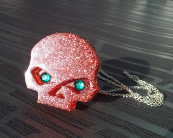 Handmade Red Glitter Resin Skull Pendant with Silver Tone Necklace Gothic Emo Steampunk