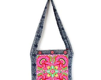 Cute Cross-Body Bag HMONG Embroidered Batik Hippie Boho Handmade Thailand (BG453-WF)