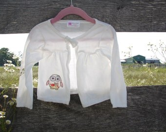 18 months Baby Girl Owl Applique Sweater