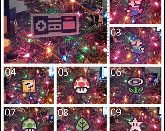 Single Nintendo Super Mario Bros Perler Bead Christmas Ornaments - star mushroom leaf hammer shy guy bullet bill  card game potion 1up frog