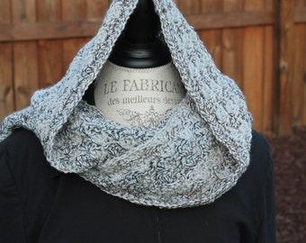 Hooded Scarf - Crochet -  Women or Teen - Grey Tweed - Marble Hoodie
