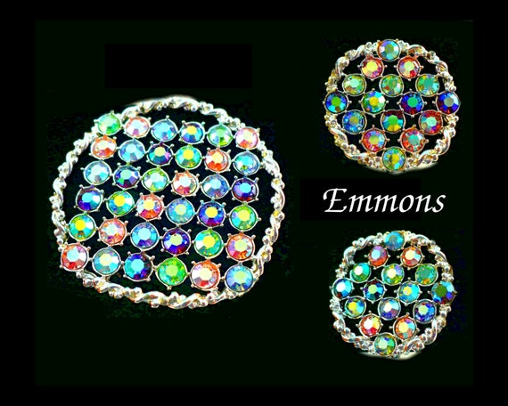 SALE! Exquisite Emmons Aurora Borealis AB Rhinestone Brooch & Earrings, Summer Multi Color Pastel, Silver, Bridesmaid Mother of Bride, Gift