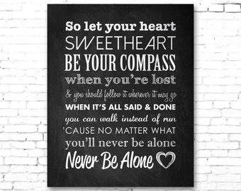 "LADY ANTEBELLUM ""Compass"" | PRINTABLE Song Lyrics Artwork | Chalkboard Style"
