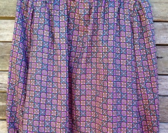 1970's 'Loubella' Purple and Teal Green Patterned Blouse with Rolled Button Collar