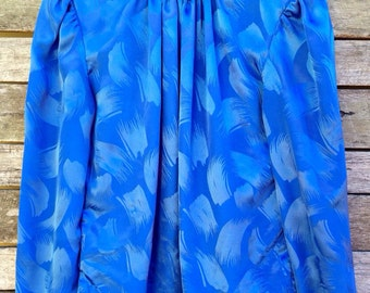 1980's 'David Benjamin' Electric Blue High Roll Collared Silky Blouse