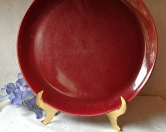 Vintage Pottery Burgundy Luncheon Plate Unmarked