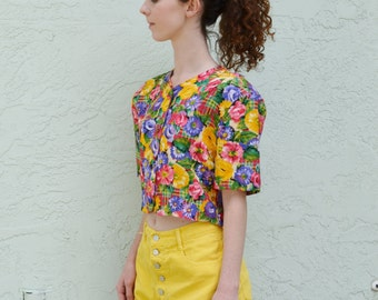 REDUCED Vintage Cropped Blouse Bright Floral Plaid Print Padded Shoulders 80s Fashion S / M