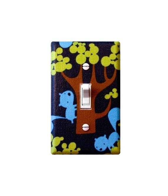 Woodland Squirrel Light Switch Plate / Standard / Baby Boy Nursery / Kids Room / Blue and Green / Gender Neutral