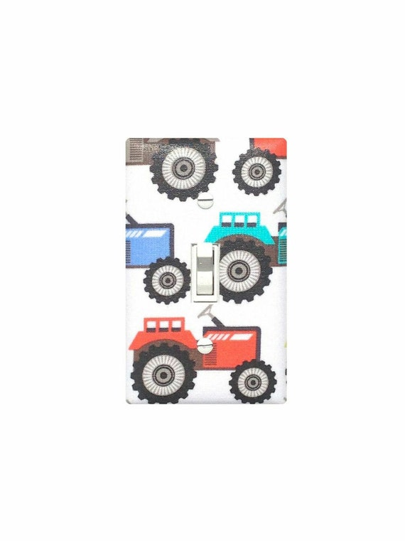 Red Tractor Plate Outlit : Items similar to tractor light switch plate cover boys