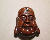 totem BUDDA hand carved, hand painted, hand embellished with SWAROVSKI clear crystal,SMILING Lucky