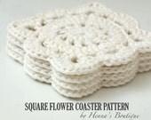 Crochet Coaster Pattern - Square Flower Coasters - PDF