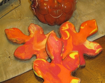 3 Large Leaves Leaf Dog treats fall Halloween