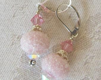 Soft Pink Sugar Earrings, Sugar-Coated Lampwork Bead Earrings on Sterling Lever Backs, Artisan Bead Earrings in Pastel Pink, Romantic, Gift