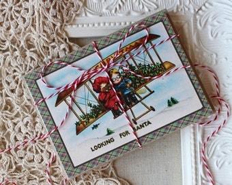 Christmas Note Cards- Vintage Kids in Airplane-Looking for Santa- Set of 5