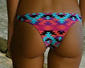 Bright Tribal Aztec Print Low Cut Bikini Bottoms Turquoise-Black-Pink-Purple-Orange Soft