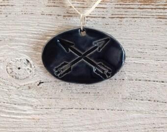Navy Blue Ceramic Arrow Pendant, Tribal, Boho, Hunger Games Inspired, Katniss, Ceramic Jewelry, Fall
