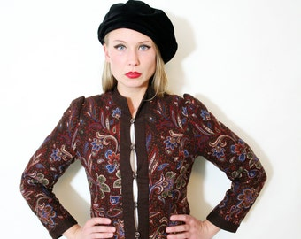 Vintage Fall Colors Quilted Cropped Jacket