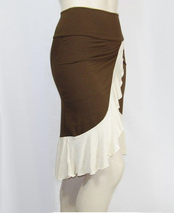 Plus Size Ruffled Wrap Skirt -Organic Cotton/Bamboo Jersey -Kobieta Salsa Skirt- Made to Order Size-Choice of Color XL,2X,3X,4X,5X,6X,7X,8X+