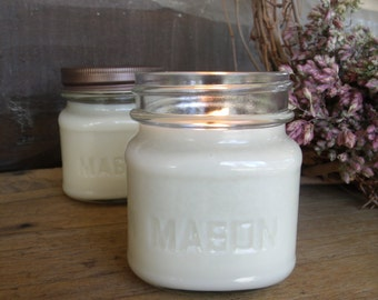 2 - 8 oz. all natural soy candles square MASON jar candles handpoured choose your scent rustic farmhouse made in Montana soy candles