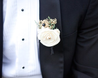 Ivory Rose Boutonniere Made to Order- Vintage Collection, Groom Wedding, Buttonhole, Groomsmen, Sola Flower, Wedding, Wedding Flowers