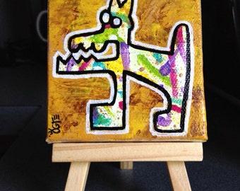 "Original OOAK Lowbrow Outsider Art ""Junkyard Dog"" Acrylic Painting abstract zombie folk punk goth street urban art"