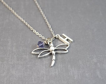Silver Dragonfly Necklace - Personalized Birthstone Necklace - Dragonfly Pendant - Personalized Jewelry - Bug Pendant - Initial Jewelry