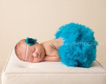 Daphnie- Teal & Aqua Blue Satin Ruffle Fabric Flower and Mini Bow Headband