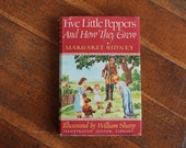 Vintage Book - Five Little Peppers and How They Grew, by Margaret Sidney (Illustrated Junior Library - 1948)