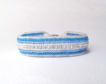 Blue Seed Bead Bracelet, Beaded Cuff Bracelet, Bead Woven Bracelet, Beadweaving UK Seller