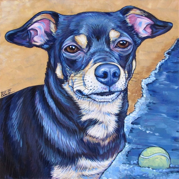 12 x 12 custom pet portrait acrylic painting on