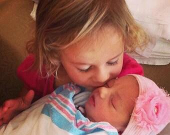 First Bow Newborn Hospital Hat Bling Shabby Chic Flower Pink (newborn girl hat, newborn beanie, newborn hospital hat with bow, first bow)