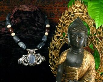 Antique Tibetan Lapis Lazuli Pendant Necklace, Iolite Statement Necklace, Ethnic Jewelry, Blue Lapis Necklace, Chunky Bead Necklace
