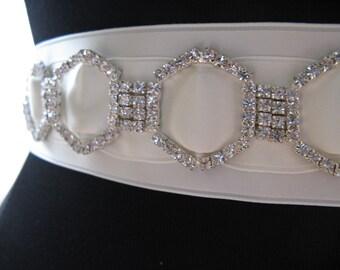Swarovski Crystal Bridal Sash, Ivory Bridal Sash, Geometric Bridal Belt, Art Deco Crystal Sash-GIANNA