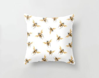 Bees in Golden Yellow Cushion Cover/ Honeybee Forest Woodland Insect Linen Cotton Throw Pillow/ Handmade to Order/ Ships in 4-5 days