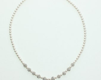 Silver Swarovski Pearls With Silver pave Beads and Sterling Silver Cross Charm with Rhinestone Center Beaded Necklace (NSHWC)