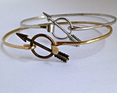 Gold Arrow Bangle, Silver Arrow Bangle, Wire Bangle Bracelet, Arrow Bracelet, Arrow Bangle, Arrow Jewelry, Antiqued Gold Arrow, stacking