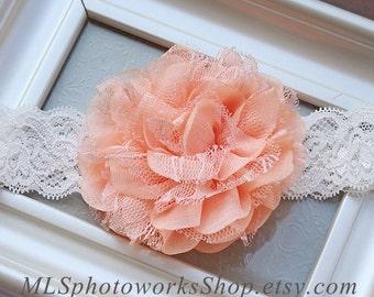 Lacey Light Peach Rose Baby Headband
