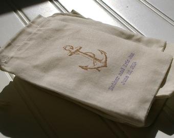 Anchor Favor Bags -  Set of 100 Bags.Cotton Muslin Drawstring Bags. Beach Wedding. Wedding Favors. Wedding Reception. Nautical.