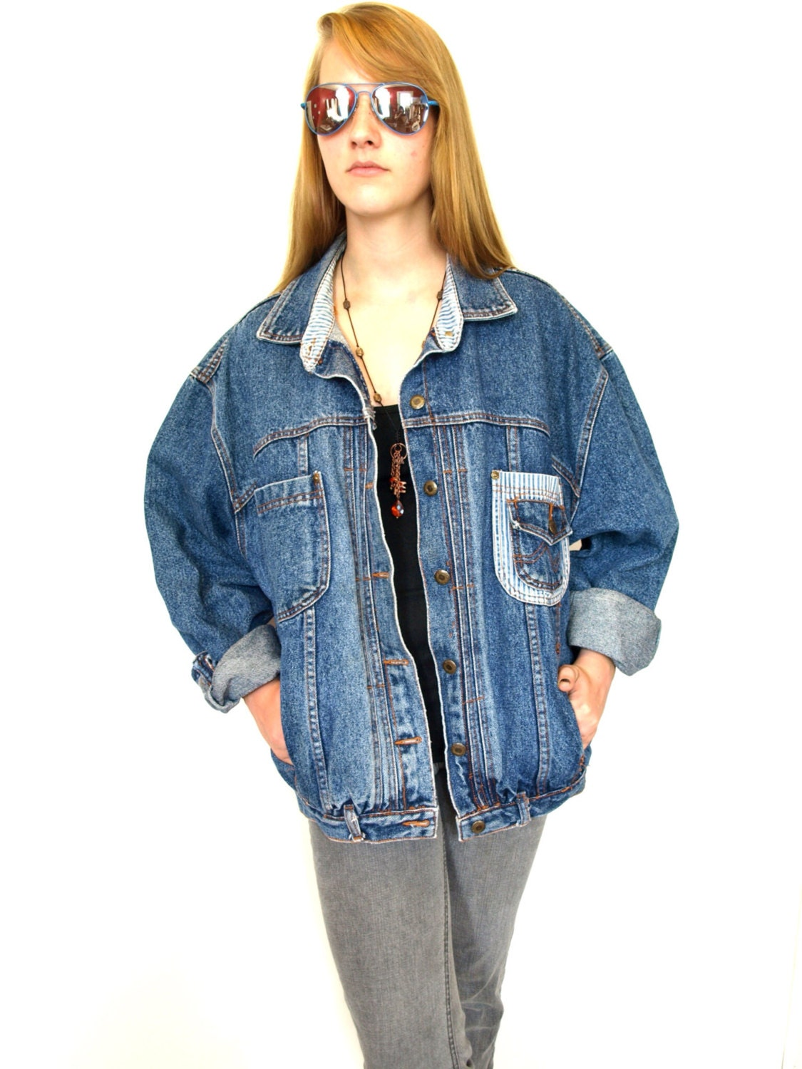veste en jean ample vintage femmes 80 s 2 tons ray denim. Black Bedroom Furniture Sets. Home Design Ideas
