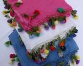 Turkısh Oya trımmed Scarf / Shawl Blue Cotton Voile with crocheted carnation shaped edging