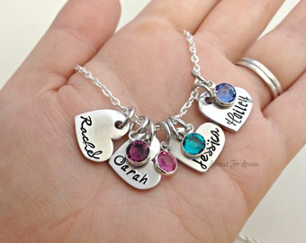 Stamped Heart Name  Custom Birthstone Necklace- Hand Stamped Jewelry - Personalized Jewelry - Engraved Jewelry
