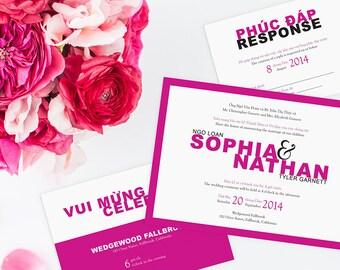 Printable Bilingual Vietnamese Wedding Invitation Set   Invitation,  Reception And RSVP   Sarah Green Modern