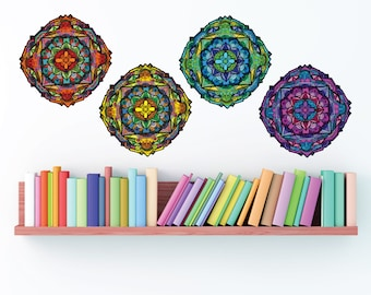 Set of 4 multicolor- Geometric mandala- fabric wall decal