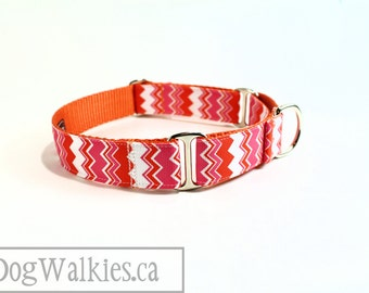 """Pink Tangerine Chevron - Zig Zag - Dog Collar - 1"""" (25mm) Wide - Martingale or Side Release - Choice of collar style and size // Orange"""