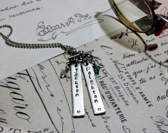 Unique Design Mother's Necklace. Hand-stamped Necklace for Mothers or Grandmothers with Birthstones. Perfect For Mother's Day