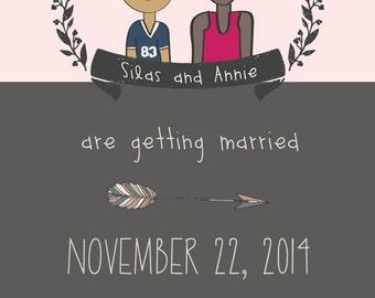 Portrait Wedding Invitation. Unique Save the Date. Custom Unique Couples Cartoon Illustration. Design Only