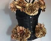Golden Burlesque custom under bust corset and custom matching bra top 34D under bust corset Medium