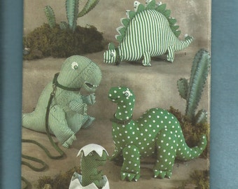 Vintage 1987 Simplicity 8378  Dinosaurs Stuffed Animals  UNCUT
